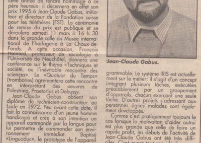 art 1995 Prix de l'Institut neuchatelois